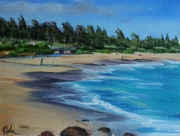 Kealia Beach with Bridge plein air