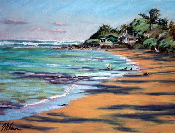 Aliomanu Winter Afternoon, pastel artwork by Kauai artist Helen Turner