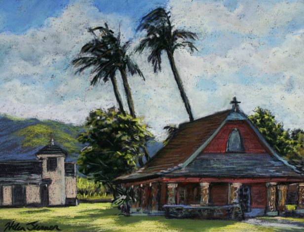 All Saints Church, pastel artwork by Kauai artist Helen Turner