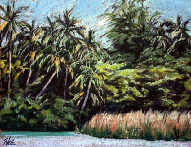 Anahola River, pastel artwork by Kauai artist Helen Turner