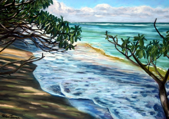 Anahola Shadows 2, pastel artwork by Kauai artist Helen Turner