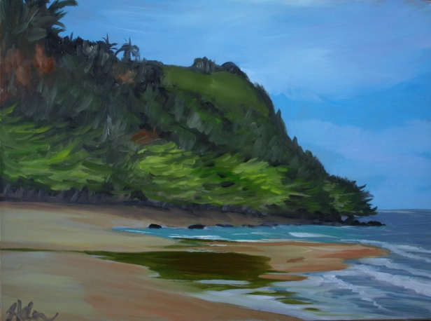 Anini River plein air, pastel artwork by Kauai artist Helen Turner