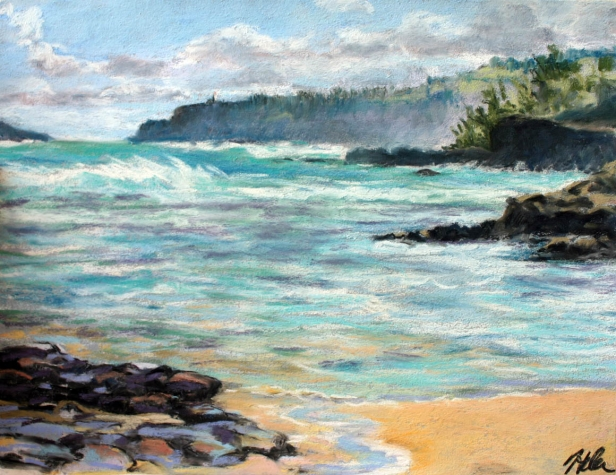 Anini Winters Day, pastel artwork by Kauai artist Helen Turner