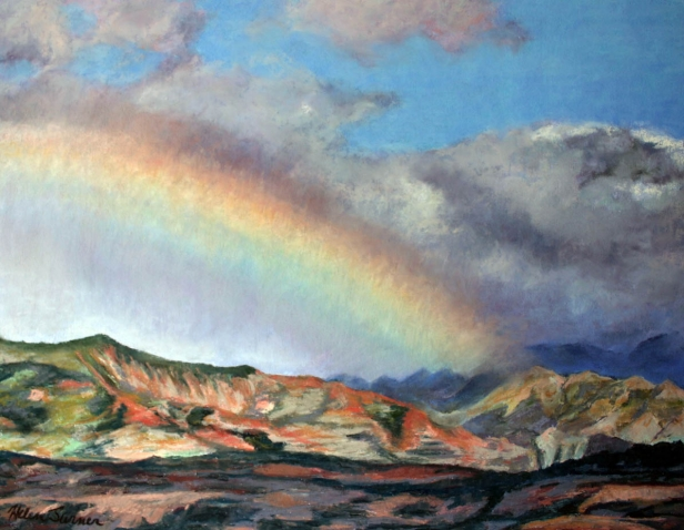 Anuenue Canyon, pastel artwork by Kauai artist Helen Turner