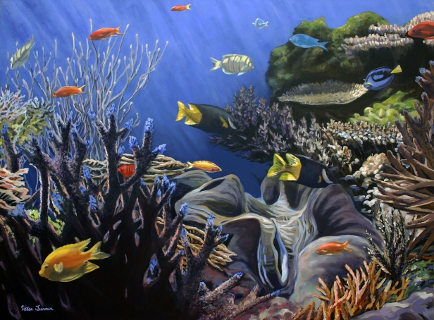 Aquaria 1, pastel artwork by Kauai artist Helen Turner