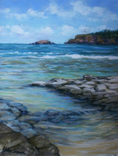 Baby Pool, pastel artwork by Kauai artist Helen Turner