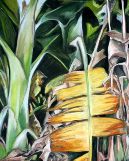 Banana Leaves, pastel artwork by Kauai artist Helen Turner