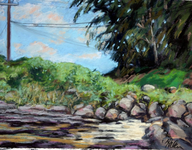 Bend in the Road, Anini, pastel artwork by Kauai artist Helen Turner