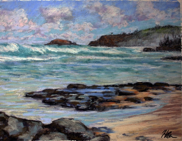 Big Waves at Anini, pastel artwork by Kauai artist Helen Turner