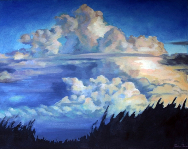 Building with Clouds, pastel artwork by Kauai artist Helen Turner