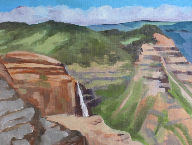 Canyon plein air, pastel artwork by Kauai artist Helen Turner