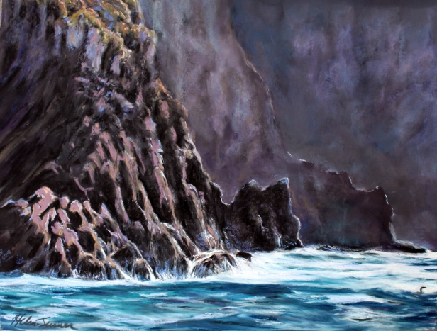 Commorant Cliffs, Hawaiian artwork by Helen Turner