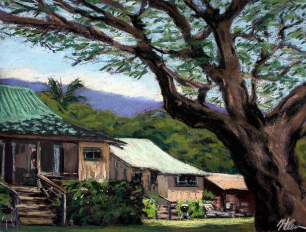 Cottages under the big Monkeypod Tree, pastel artwork by Kauai artist Helen Turner