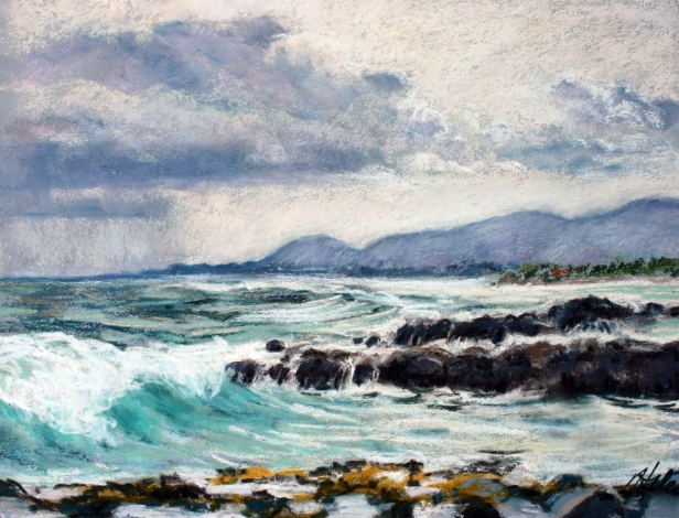 December skies, pastel artwork by Kauai artist Helen Turner
