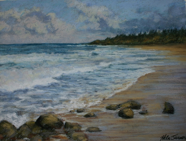 Donkey Beach studio pastel, pastel artwork by Kauai artist Helen Turner