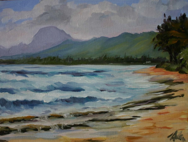 East side Vog plein air, pastel artwork by Kauai artist Helen Turner