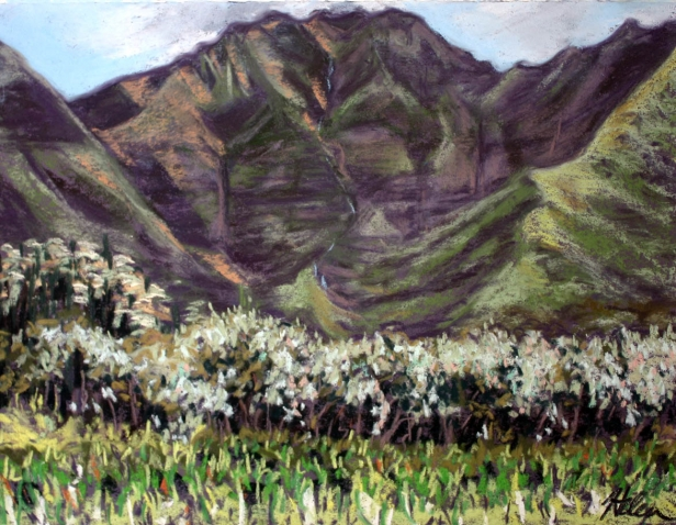 Hanalei Mountains, pastel artwork by Kauai artist Helen Turner
