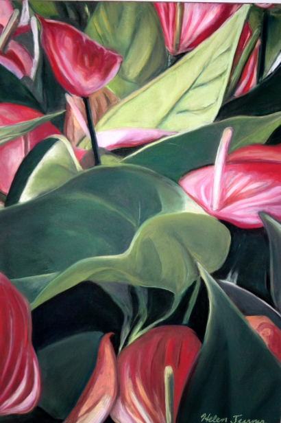 Hearts and Flowers, pastel artwork by Kauai artist Helen Turner