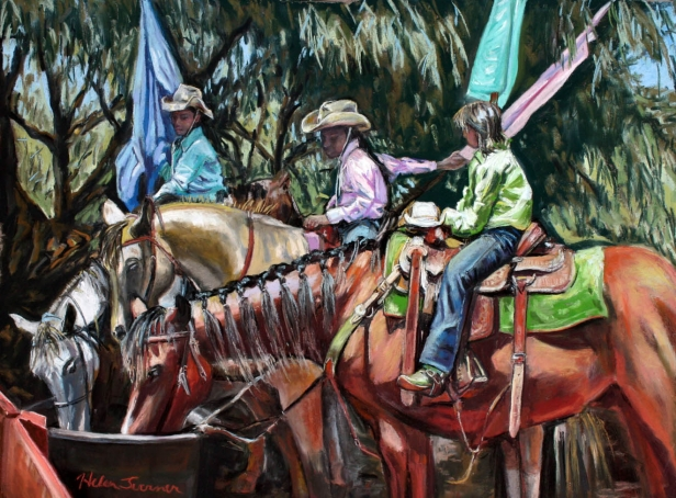Hot Day at the Rodeo, pastel artwork by Kauai artist Helen Turner