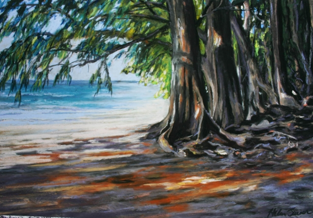 Ironwood Beach, pastel artwork by Kauai artist Helen Turner
