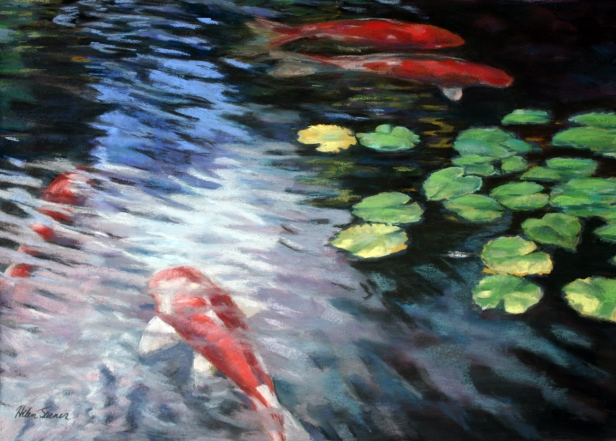 Joy of Koi, pastel artwork by Kauai artist Helen Turner