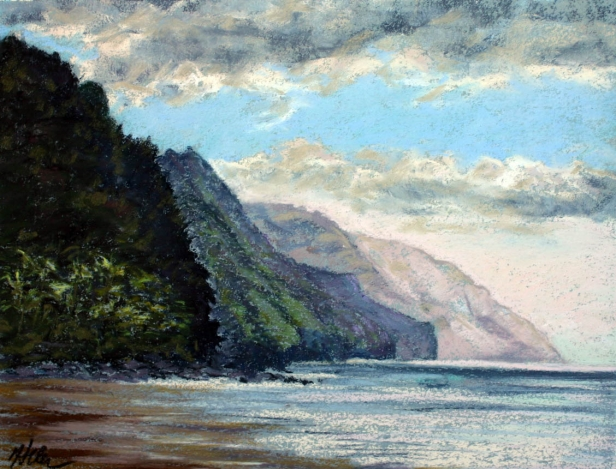 Ke'e October sunset, pastel artwork by Kauai artist Helen Turner