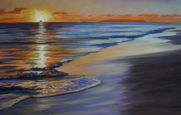 Kekaha Sunset, pastel artwork by Kauai artist Helen Turner