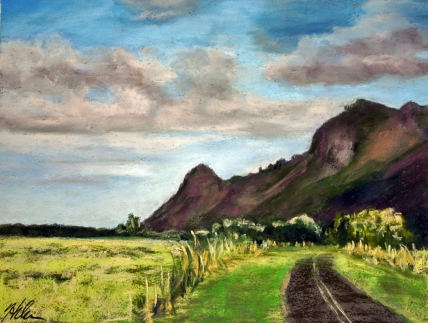 Kipu Rd, late afternoon, pastel artwork by Kauai artist Helen Turner