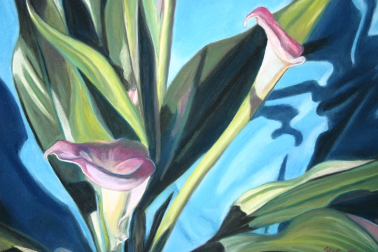 Lavendar Callas, pastel artwork by Kauai artist Helen Turner