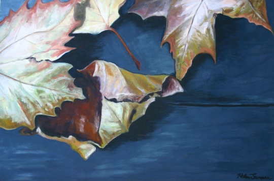 Leaves on Blue PicNic Table, pastel artwork by Kauai artist Helen Turner