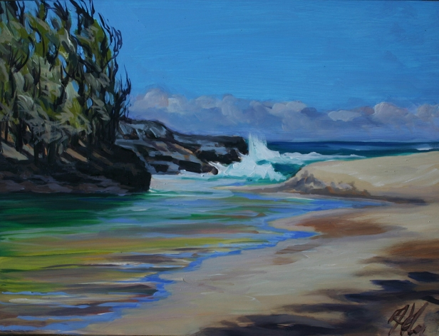 Lumahai River plein air, pastel artwork by Kauai artist Helen Turner