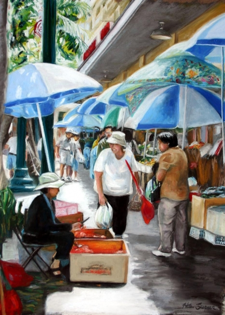 Market Day, pastel artwork by Kauai artist Helen Turner