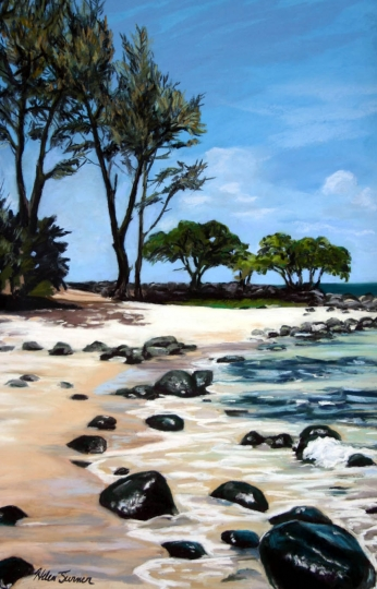 Moloaa at Noon, pastel artwork by Kauai artist Helen Turner