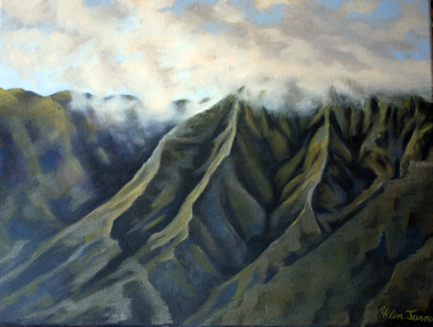 Mountain detail, pastel artwork by Kauai artist Helen Turner