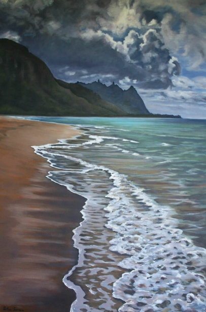 Mysteries of Makua, pastel artwork by Kauai artist Helen Turner