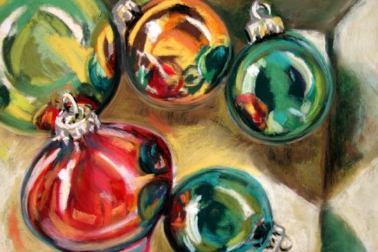Ornaments 2, pastel artwork by Kauai artist Helen Turner