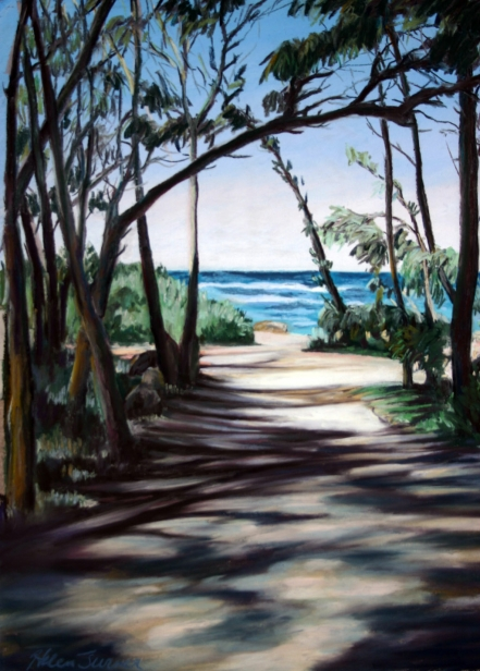 Path to the Sea, pastel artwork by Kauai artist Helen Turner
