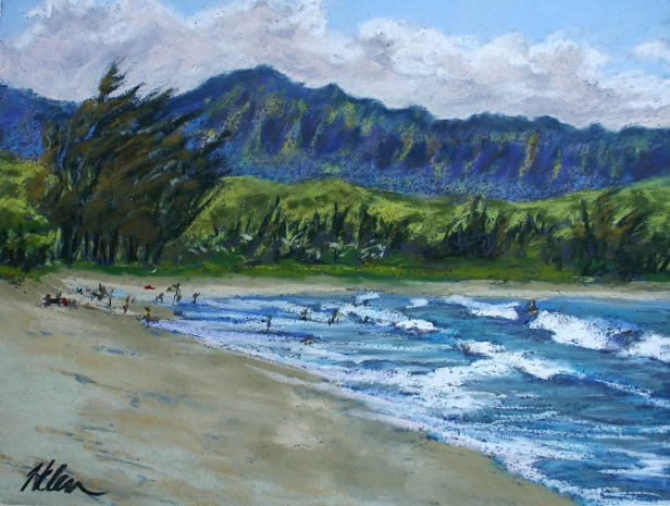 Pinetrees Waves, pastel artwork by Kauai artist Helen Turner