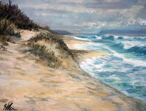 Polihale Winter erosion, pastel artwork by Kauai artist Helen Turner
