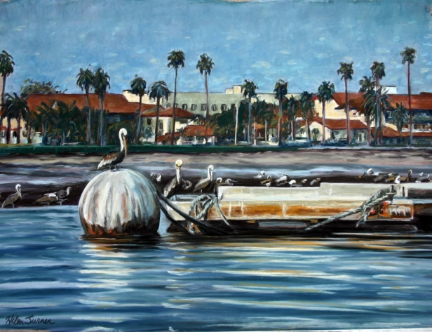 Santa Barbara by Boat, pastel artwork by Kauai artist Helen Turner