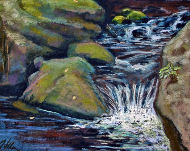 Small Falls, pastel artwork by Kauai artist Helen Turner