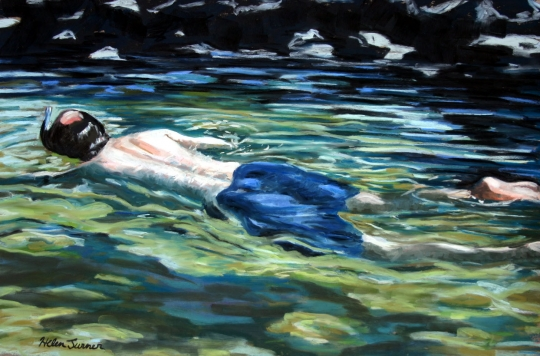 Snorkel, pastel artwork by Kauai artist Helen Turner