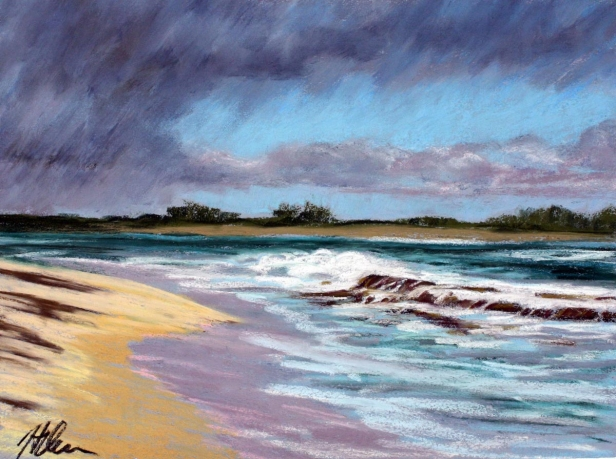 Rain squall at Salt pond, pastel artwork by Kauai artist Helen Turner
