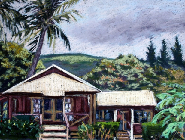Sunday Cottages, pastel artwork by Kauai artist Helen Turner