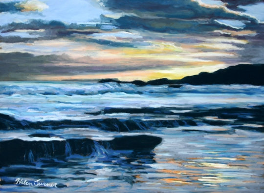 Sunset at Salt Pond, pastel artwork by Kauai artist Helen Turner