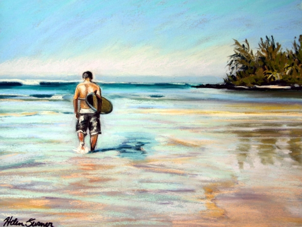 Surfer at the Bay, pastel artwork by Kauai artist Helen Turner