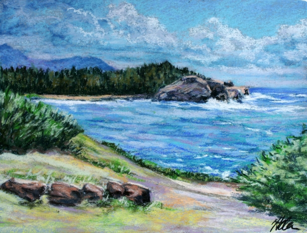 The Point in Poipu, pastel artwork by Kauai artist Helen Turner