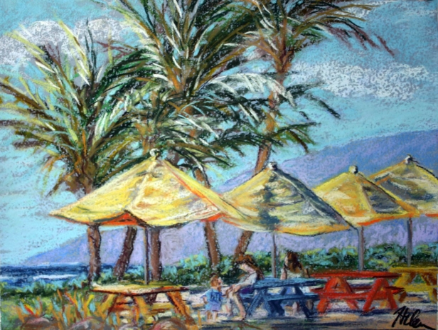 Umbrellas on the eastside, pastel artwork by Kauai artist Helen Turner