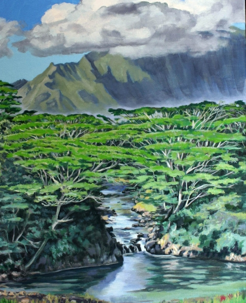 View from the Monastery, pastel artwork by Kauai artist Helen Turner
