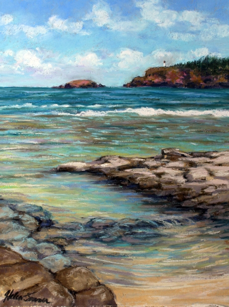 View from the Tide Pool, pastel artwork by Kauai artist Helen Turner